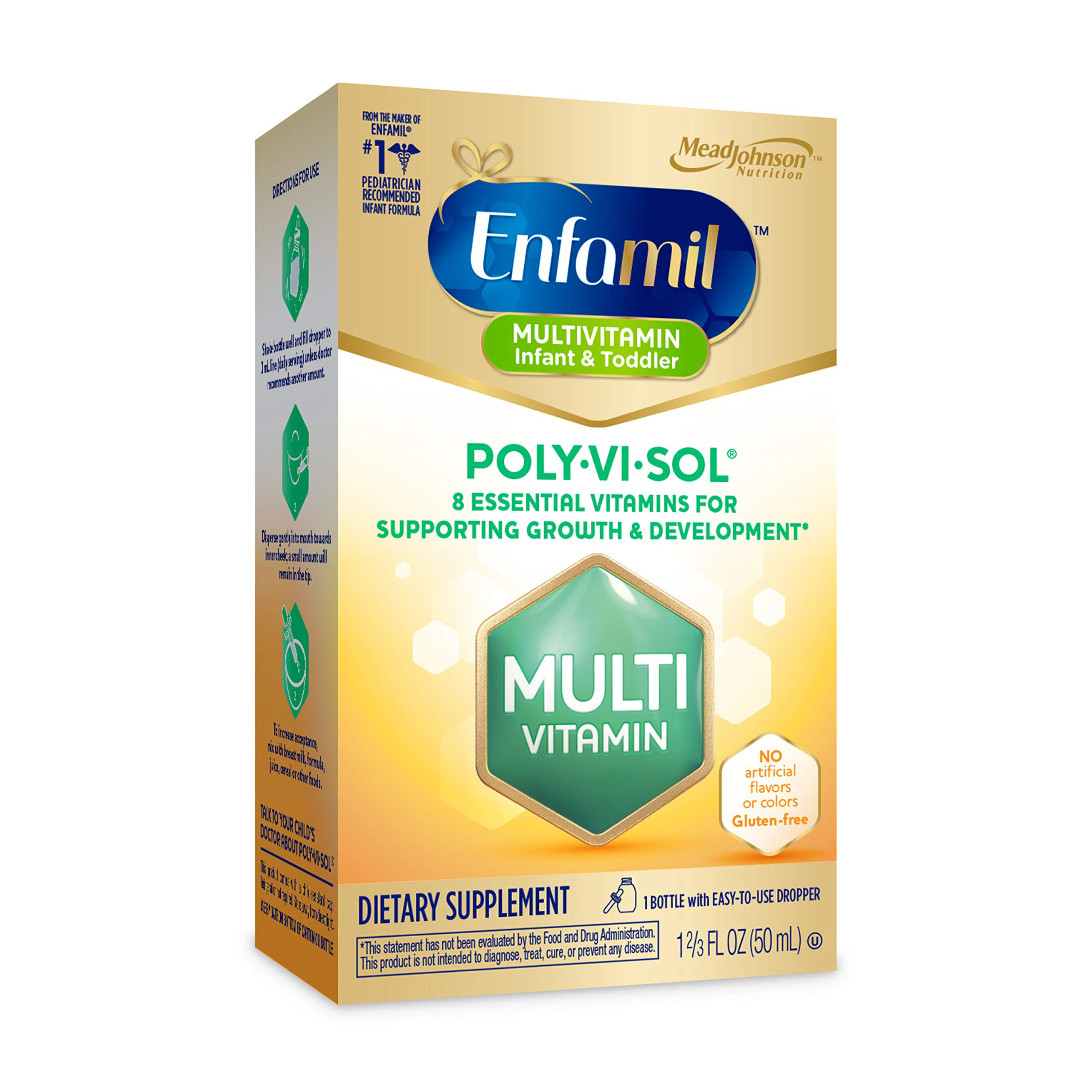 Enfamil Poly-Vi-Sol Liquid Multivitamin Supplement for Infants and Toddlers, Assorted, No Flavor, 1.69 Fl Oz