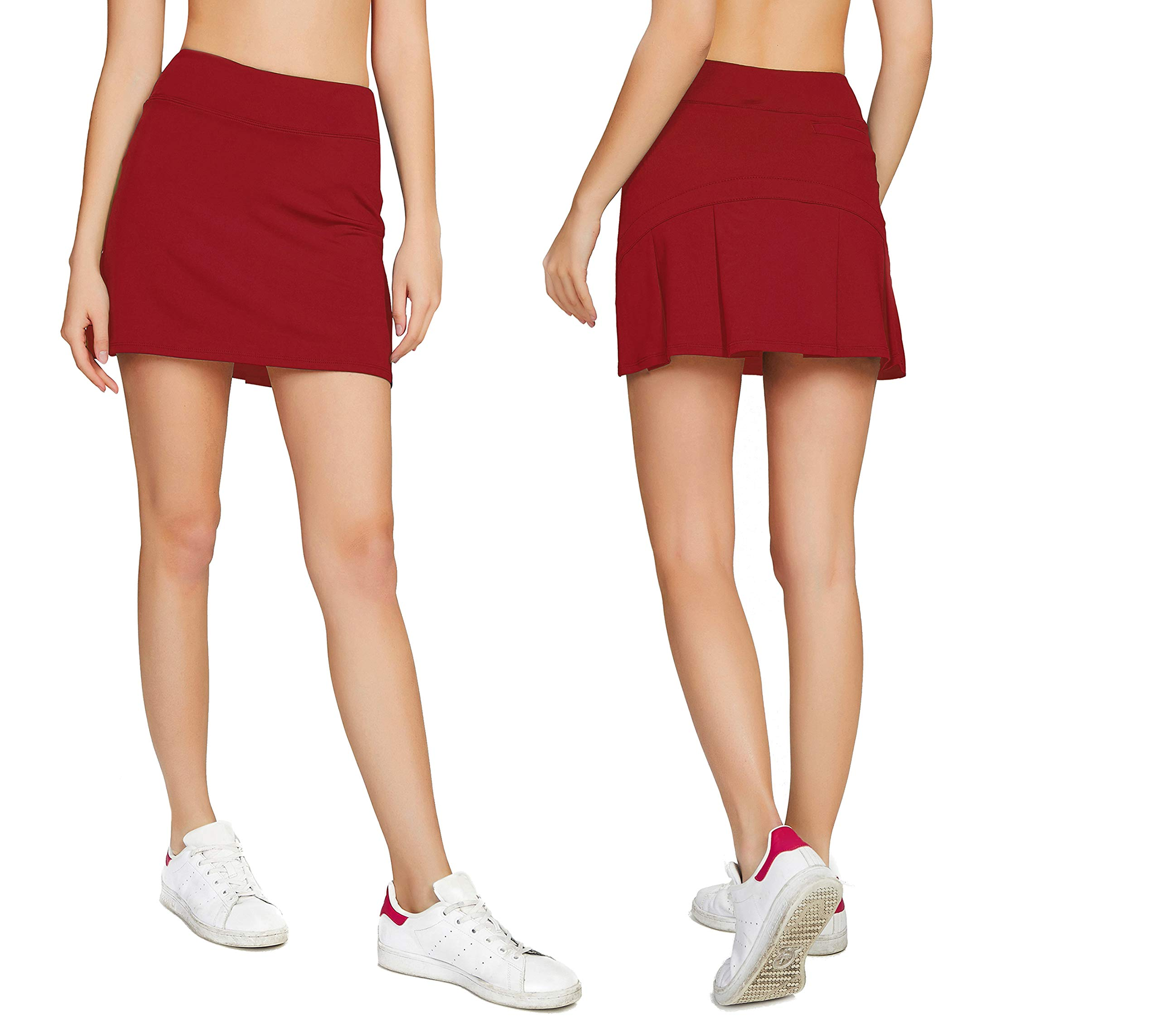 Cityoung Women's Casual Pleated Golf Skirt with Underneath Shorts Running Skorts m red