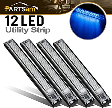 """TWO Clear//Blue Underwater Led RV Boat Light 6/"""" Utility Strip Light Sealed 12 LED"""