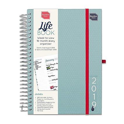 Boxclever Press Life Book Agenda 2019. Agenda A5 semanal. Planificador semana vista con grande espacio para cada día, listas de compra y bolsillo. ...