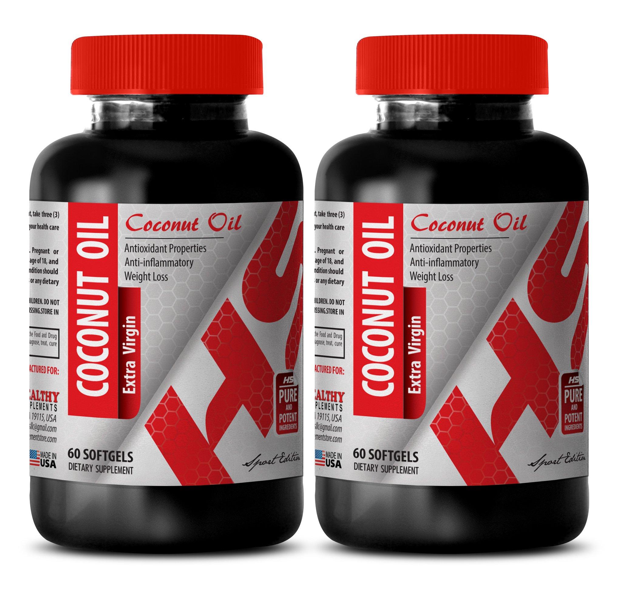 Organic coconut oil capsules extra virgin 1000 mg - PURIFIED COCONUT OIL EXTRA VIRGIN 3000 MG - improve digestion (2 Bottles)