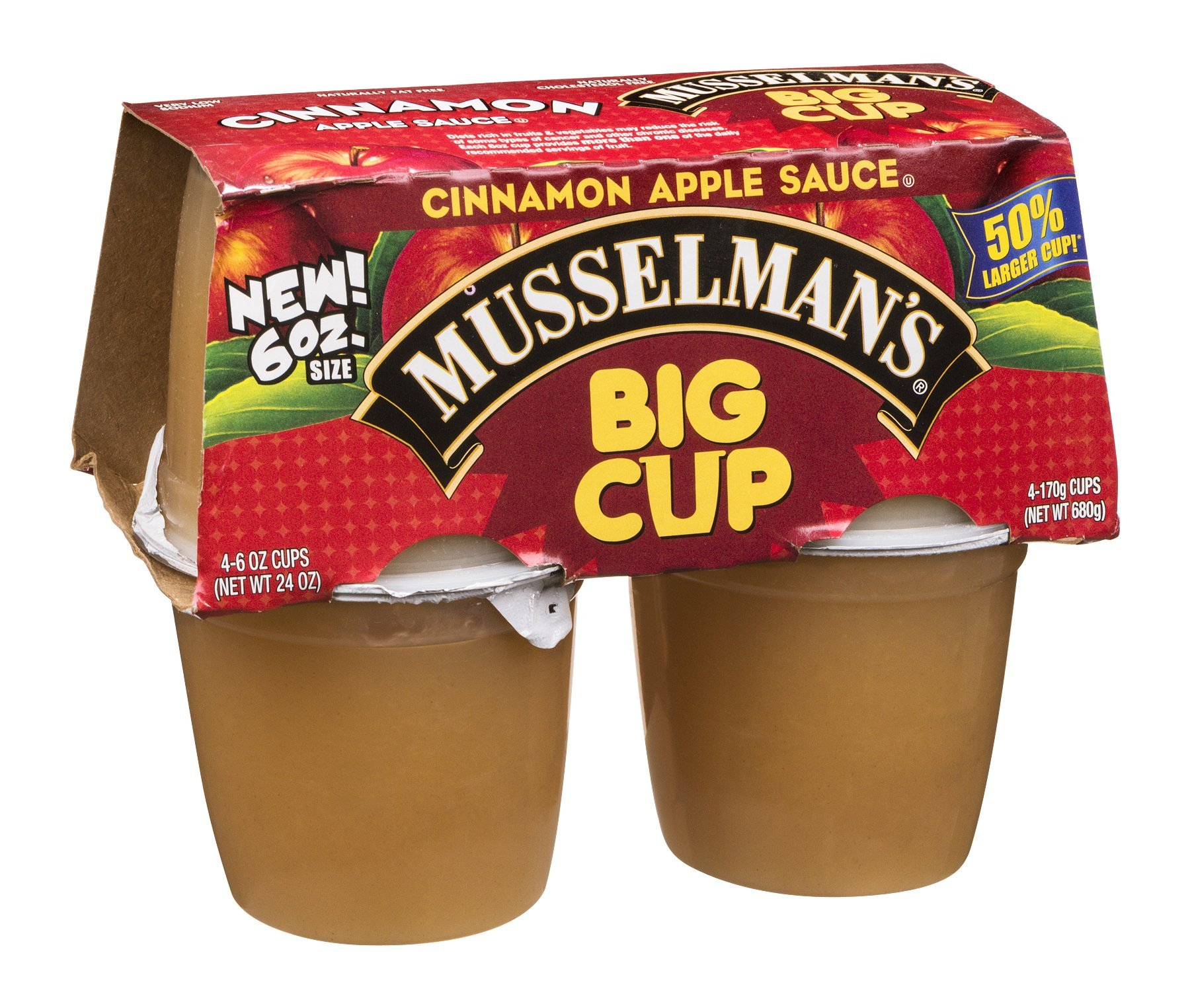 Musselman's Apple Sauce Big Cup Cinnamon 24 OZ (Pack of 24) by Musselmans