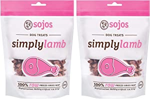 Sojos Simply Lamb Raw Freeze Dried Grain-Free Dog Treats, 4-Ounce each (Pack of 2)
