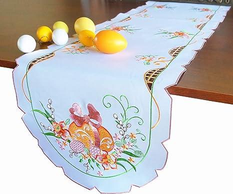 table decor flower print Embroidery imitation Table runner flowers housewarming gift 100/% linen easter decor linen table runner