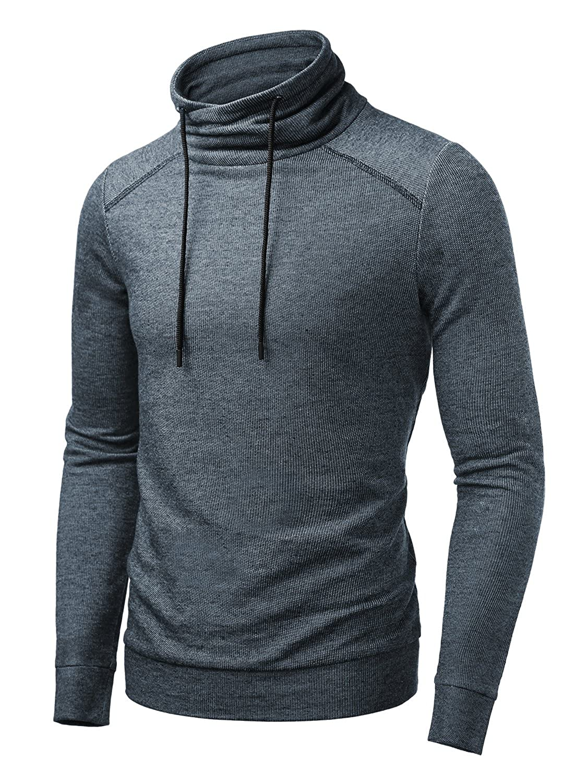 607654001 HEMOON Men s Knitted Drawstring Pullover Funnel Neck Sweatshirt Top ...