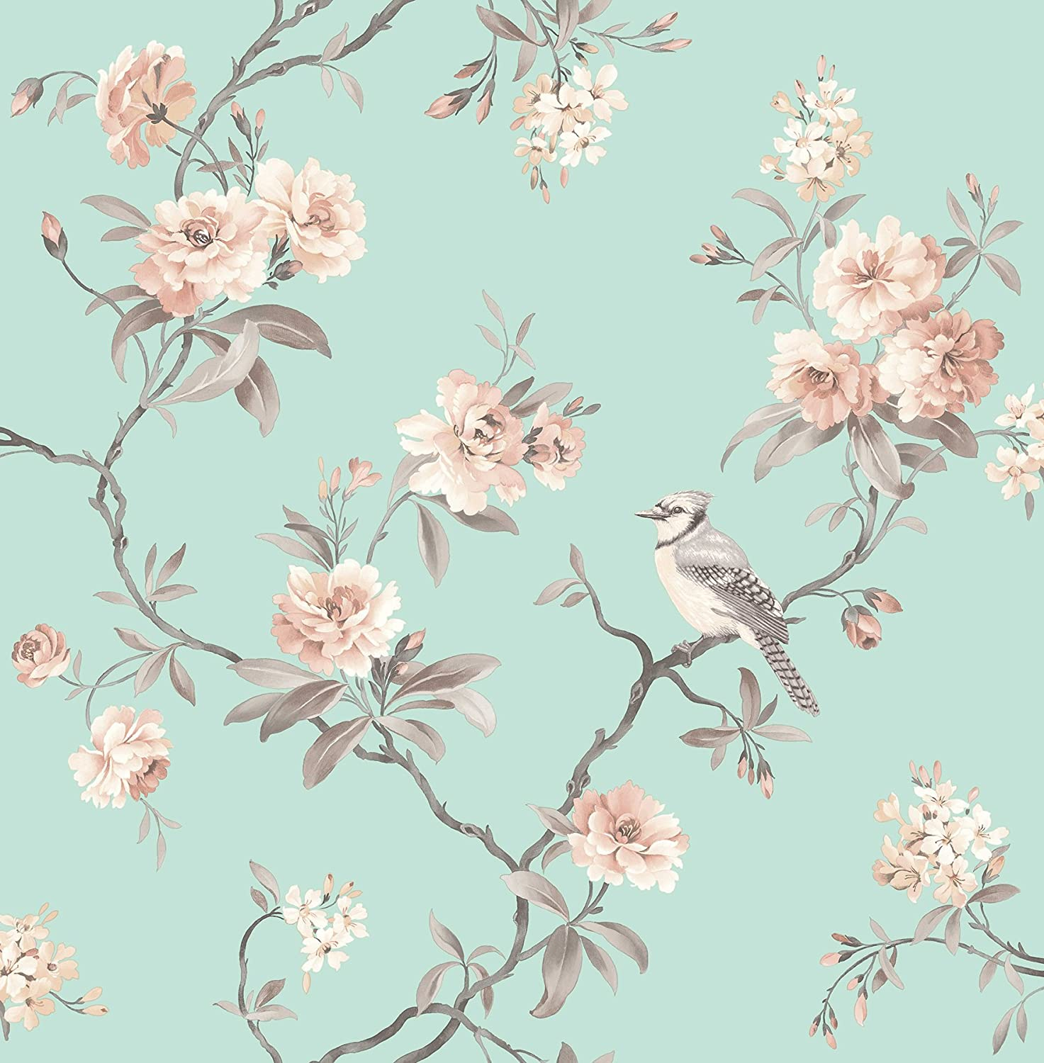 Fine Decor 2900 40768 Seafoam Chinoiserie Floral Wallpaper