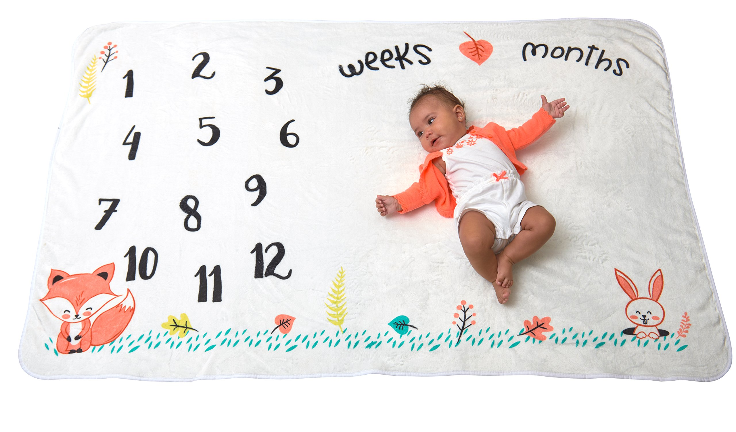 Large Premium Minky Fleece Monthly Milestone Blanket For Baby- Infant Photography Prop For Boys & Girls | Unique Shower Gift | Baby & Mommy Milestone Cards + Tape Measure Prop Bonus | Woodland Animals
