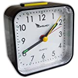 Alarm Clock (Upgraded) - Analog, Battery Operated, No Frills Simple Operation, Non Ticking, Snooze, Loud Alarm, Light, Bedside or Travel, Retro, Black