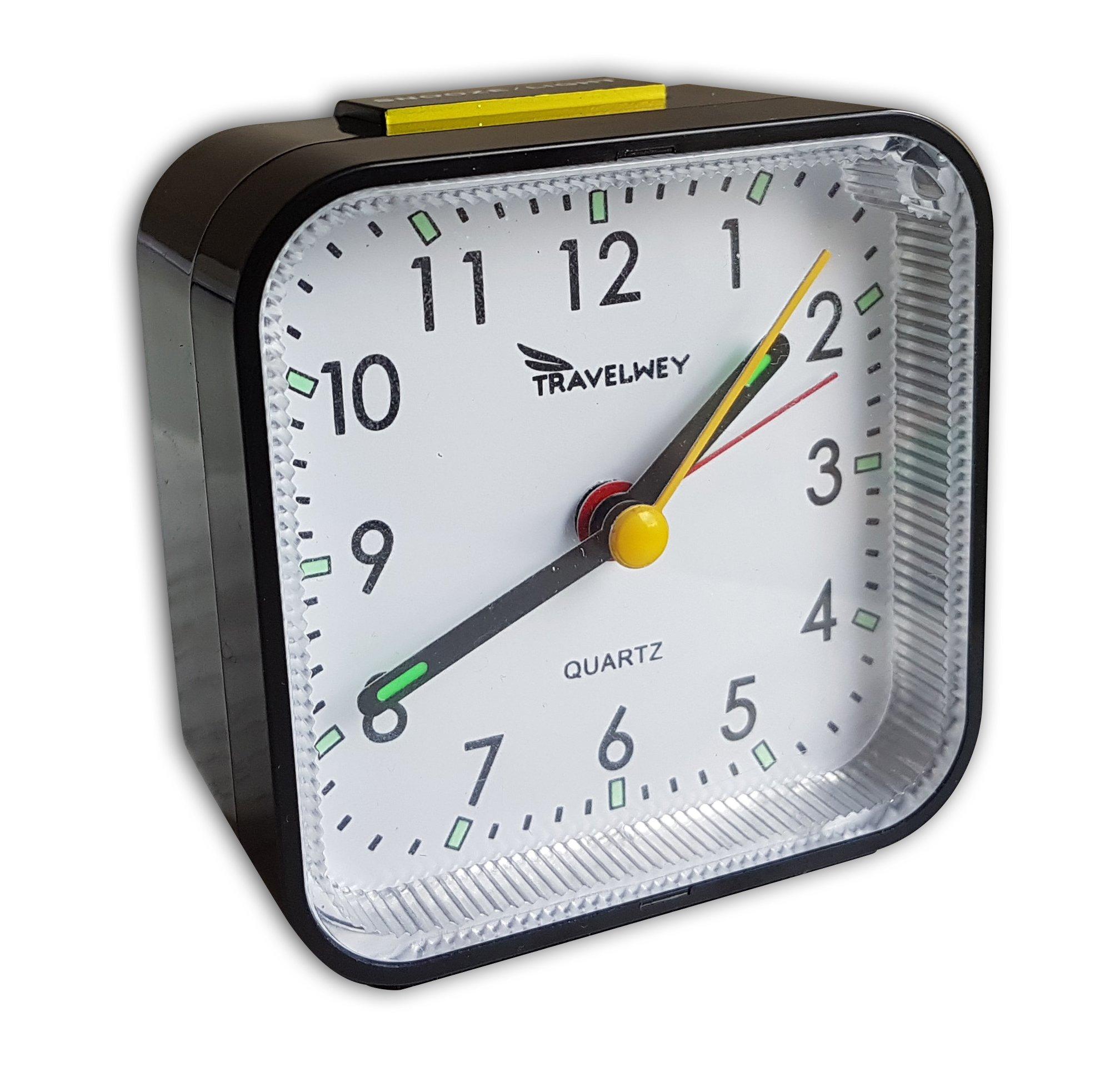 Desk Clock - Analog Movement, Snooze, Alarm, Light, Battery Operated, Perfect for Bedside, Desk or Travel, Black