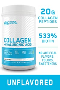 Collagen Peptides Powder by Optimum Nutrition, 20g Hydrolyzed Collagen with Hyaluronic Acid & Vitamin C, Unflavored, 28 servings, supports healthy skin, hair and joints