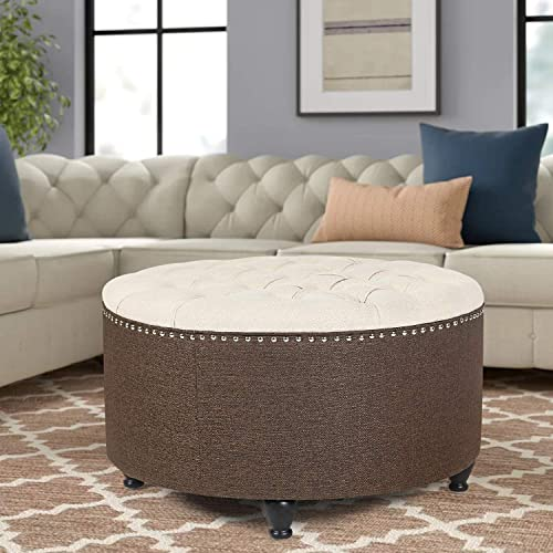Furnistar 28 Large Fabric Button Tufted Round Ottoman Contrast-Collar Cream Coffee
