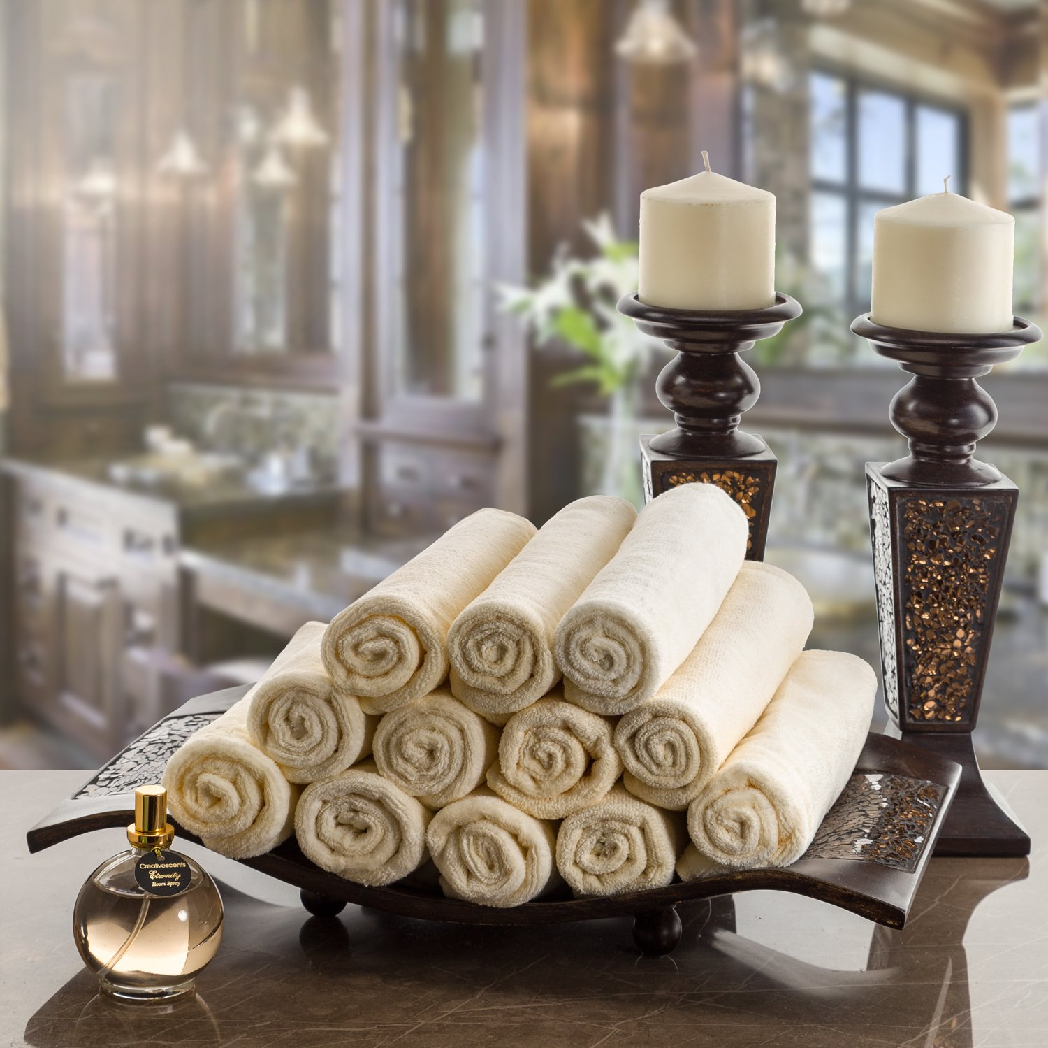 Monogrammed Gifts, Fingertip Towels, 11 x 18 Inches - Set of 4- Decorative Golden Brown Embroidered Towel - Extra Absorbent 100% Cotton- Personalized Gift- For Bathroom/Kitchen- Initial S (Ivory) by Creative Scents (Image #3)