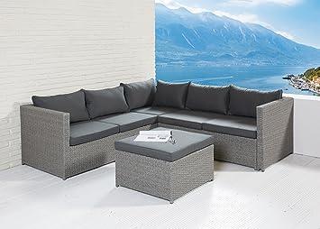 POLY RATTAN Sitzgruppe Sofa Lounge Set grau Gartenmöbel Terrassen ...