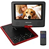 "DBPOWER 7.5"" Portable DVD Player, 5 Hour Rechargeable Battery, Swivel Screen, Supports SD Card and USB, Direct Play in Formats AVI/RMVB/MP3/JPEG_Red"