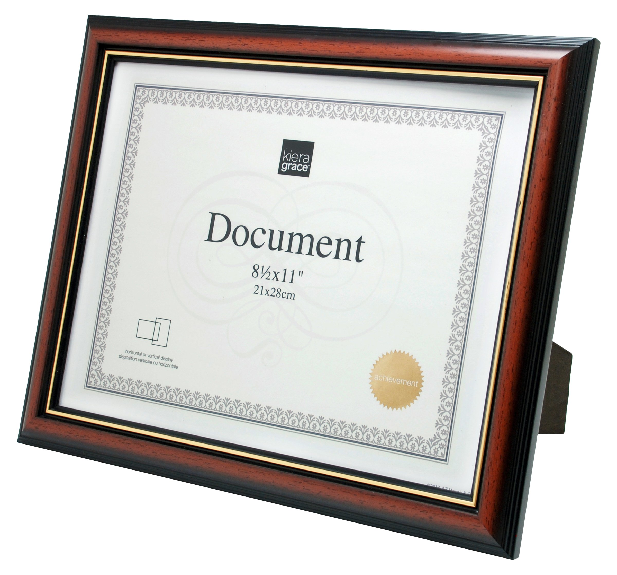 kieragrace Kylie Document Frame, 8.5 by 11-Inch, 12 Pack, Brown with Gold Border