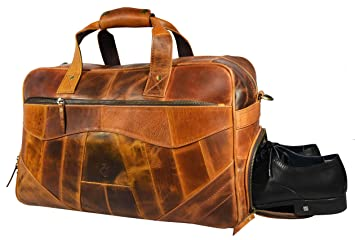1e963fef3a91 19 Inch Leather Travel Duffle Bag For Men Overnight Weekend Luggage Carry  On Duffel Bag (Caramel)