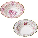 """Talking Tables Pack of 12 : Size 7. 5"""" Truly Scrumptious Vintage Floral Bowls For Afternoon Tea Party or Birthday Celebration"""
