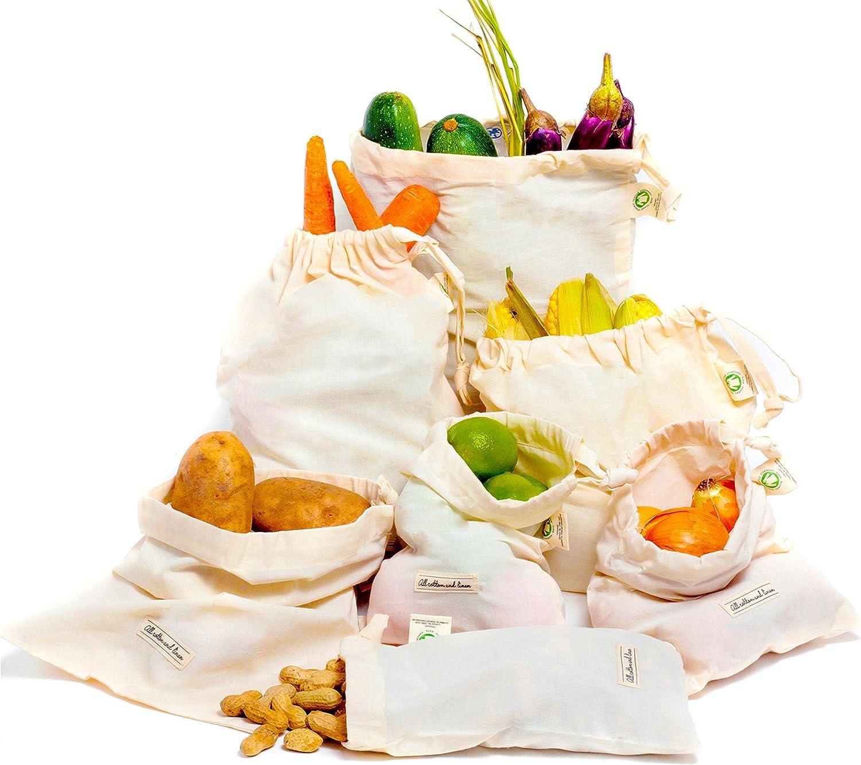 Bolsa de producción de algodón orgánico Bolsas de vegetales reutilizables Algodón-Bolsas de muselina-Juego de 6 (2 medianas, 2 pequeñas y 2 grandes)