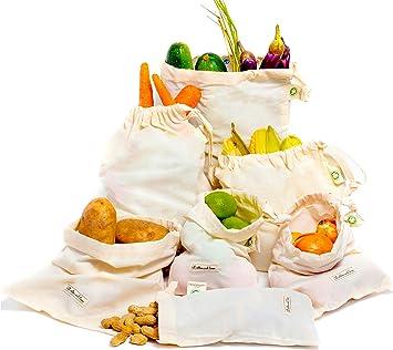 Bolsa de producción de algodón orgánico Bolsas de Vegetales Reutilizables Algodón-Bolsas de Muselina-Juego de 6 (2 Medianas, 2 pequeñas y 2 Grandes): Amazon.es: Juguetes y juegos