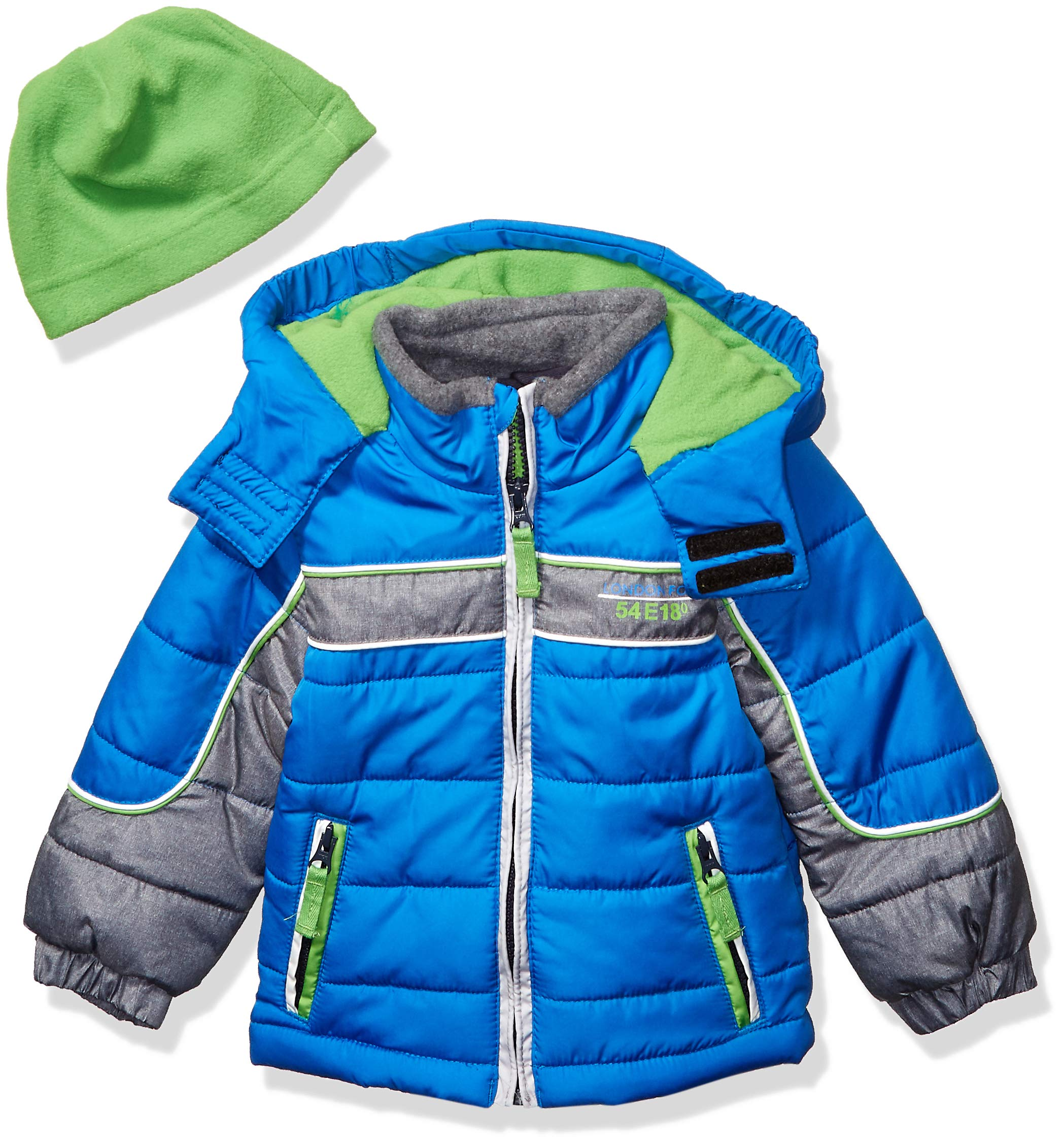 London Fog Baby Boys Color Blocked Puffer Jacket Coat with Hat,Blue Green Hat,18MO by London Fog