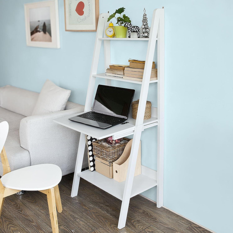 Haotian Modern Ladder Bookcase Made of Wood, Book Shelf,Stand Shelf, Wall Shelf (FRG115-W)