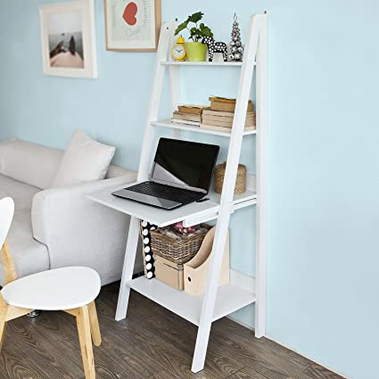amazon com haotian modern ladder bookcase made of wood book shelf rh amazon com ladder shelves with desk ladder shelves with desk uk