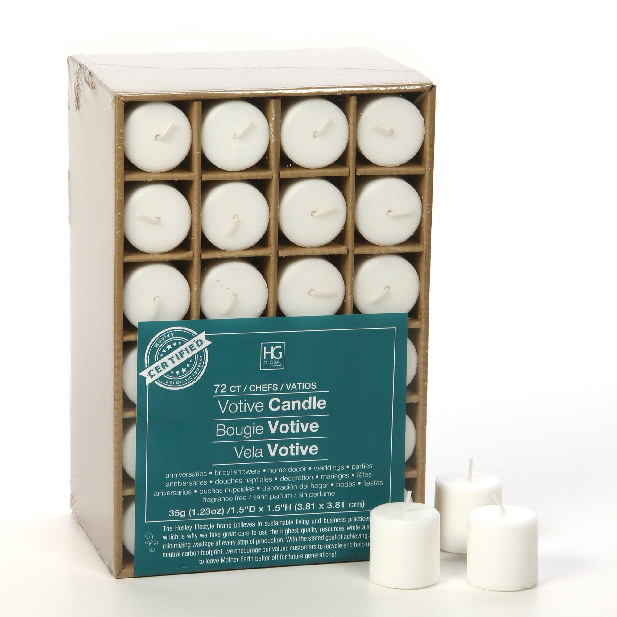 Hosley Set of 72 Unscented White Votive Candles up to 10-hours. Bulk Buy. Wax Blend. Ideal for Weddings, Birthday, Aromatherapy, Party, Candle Gardens O2 by Hosley