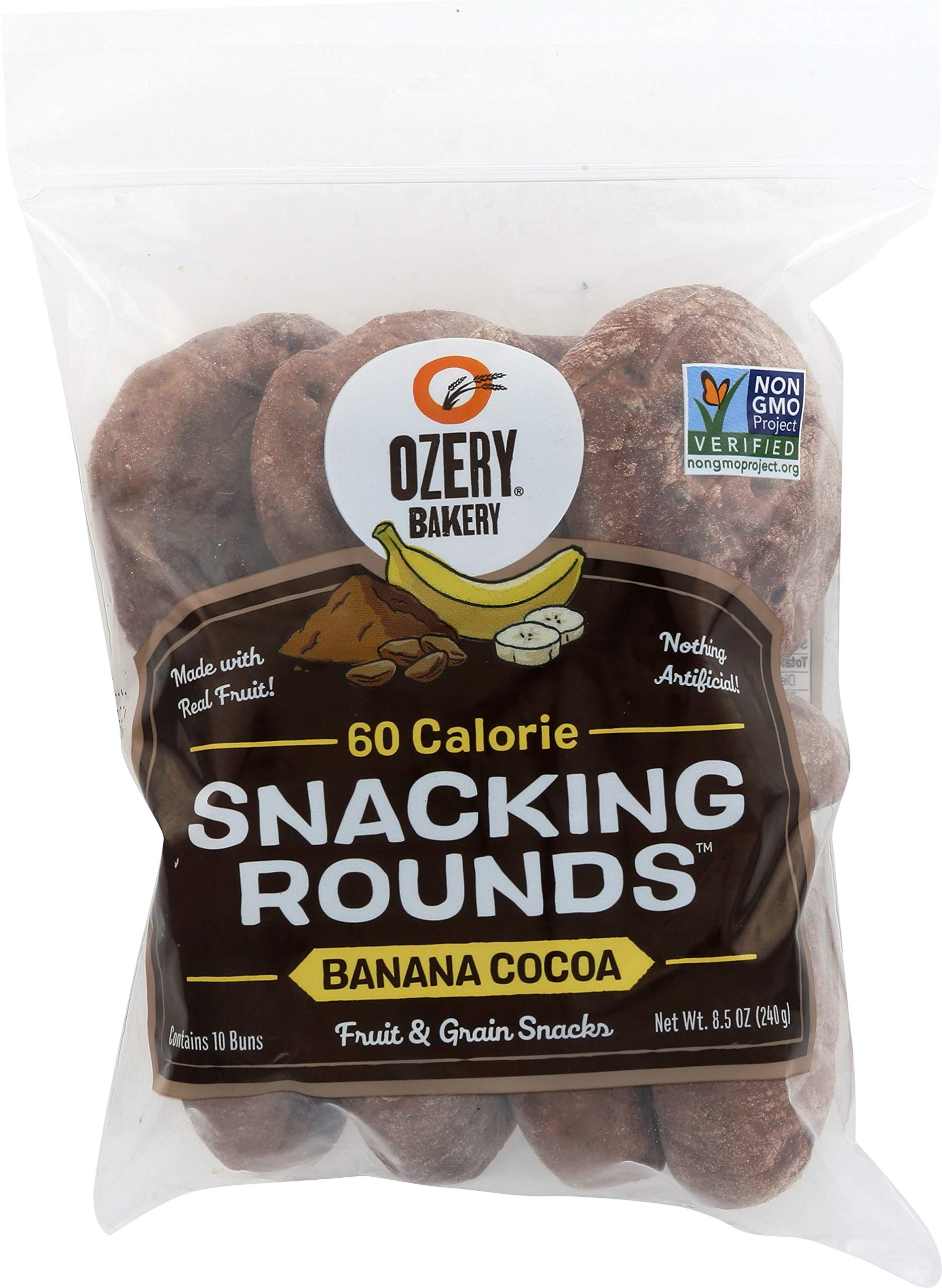 Ozery Bakery Fruit and Grain Snacks, Banana Cocoa Snacking Rounds, Bite Sized 60 Cal Snack, 8.4 Ounce (pack Of 6)