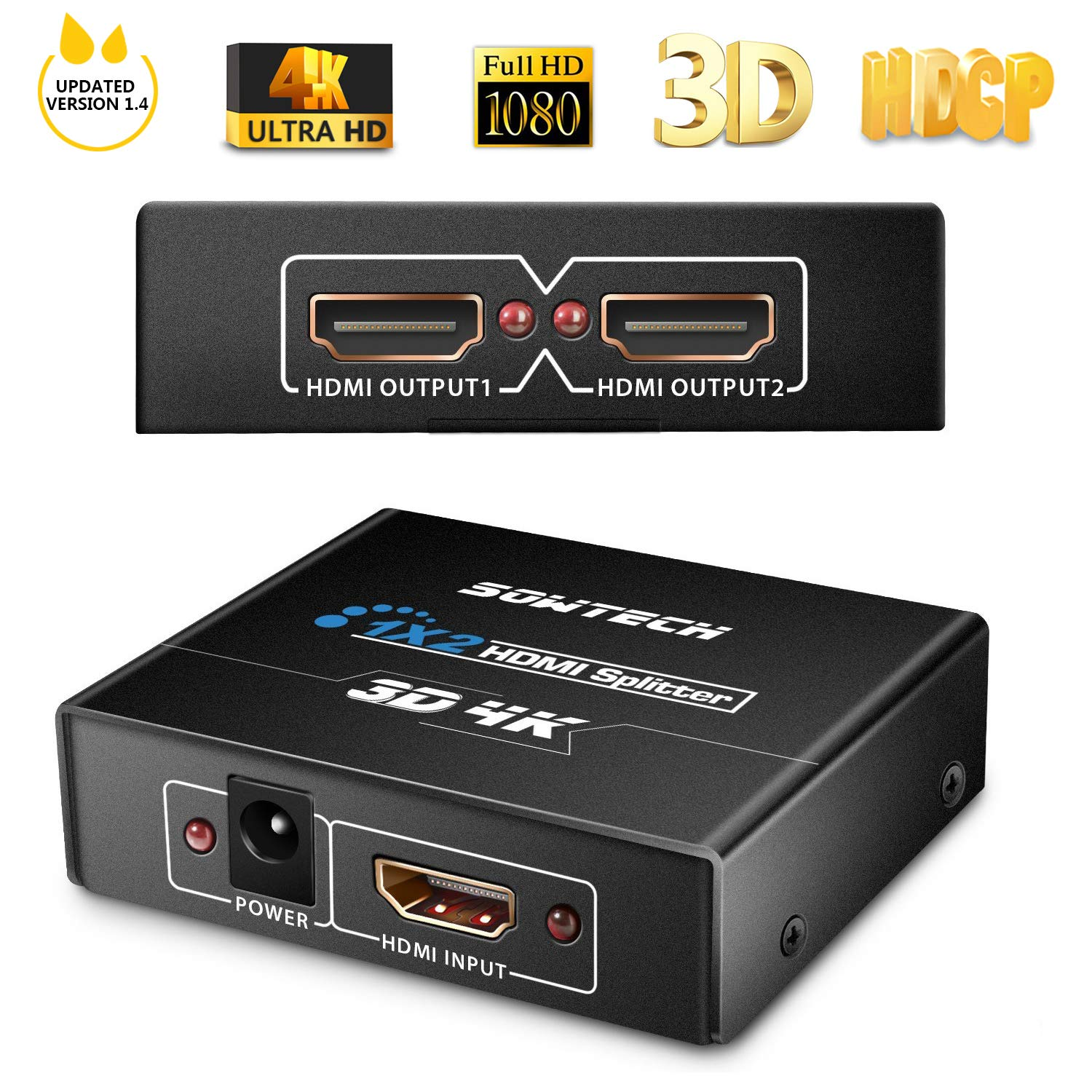 [Upgrade Version] SOWTECH 4K HDMI Splitter HDCP V1.4 Powered HDMI Splitter 1X2 HDMI Splitter for Full HD 1080P Support 4K/2K and 3D Resolution (One Input to Two Outputs)