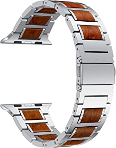 LDFAS Compatible for Apple Watch Band 44mm 42mm, Natural Wood Red Sandalwood Stainless Steel Metal Strap for iWatch Bands Compatible for Apple Watch SE, Apple Watch Series 6/5/4/3, Silver