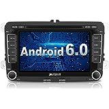 PUMPKIN 2 Din Android Autoradio DVD Player Moniceiver mit GPS Navigation für VW Golf Polo Jetta Passat Unterstützt DAB+ Bluetooth WLAN 3G OBD2 7 Zoll Touchscreen (Android 6.0)