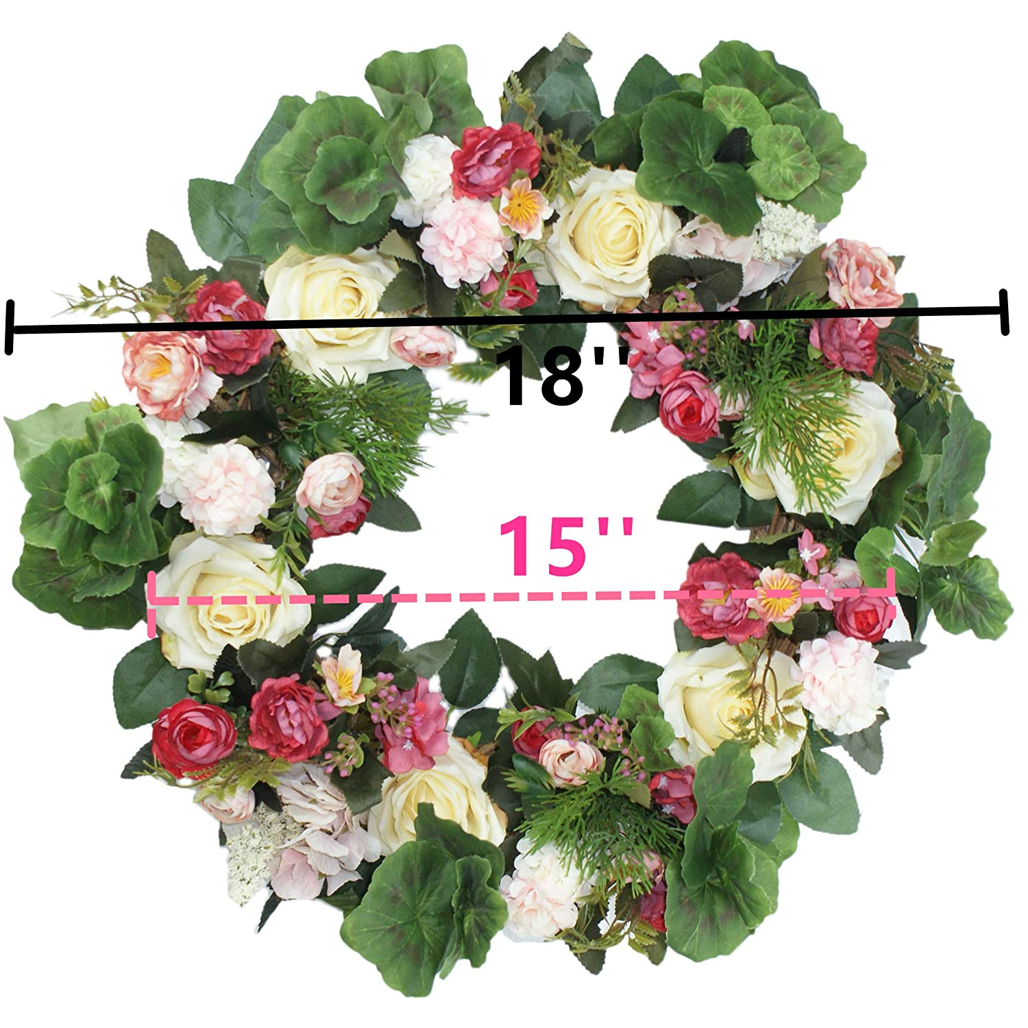 Emlyn Silk Spring Door Wreath 18-19 Inch,Beautiful Handcrafted Mix Flowers Front Porch Decoration