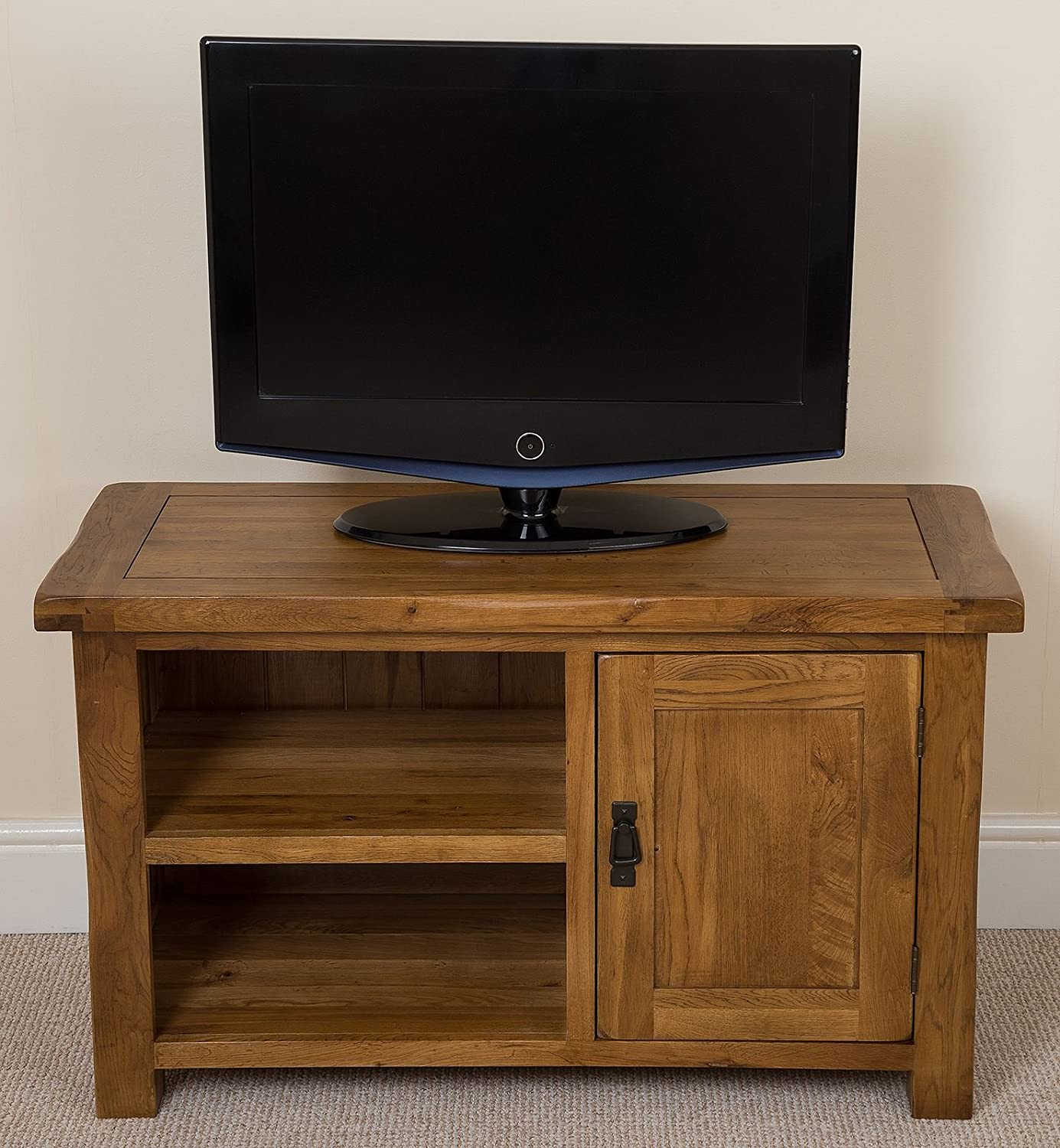 new style a7ed7 8e804 Cotswold Rustic Solid Oak Small TV/DVD Stand / Living Room Furniture, (100  x 42 x 60.5 cm)