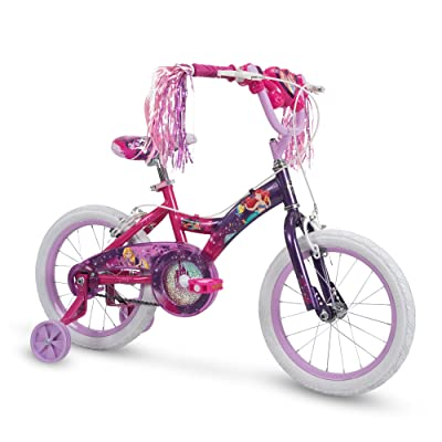 Huffy Disney Princess Kid Bike w/ Streamers & Training Wheels, Pink/Purple: Sports & Outdoors