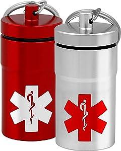 Stash Jars, Airtight Waterproof Smell Proof Container Pill Holder with Medical Emblem, Secures Nitroglycerin Nitro Bottle Aspirin Ibuprofen Medications Herbs Food Plus, EDC Keychain Fob (2, Medium)