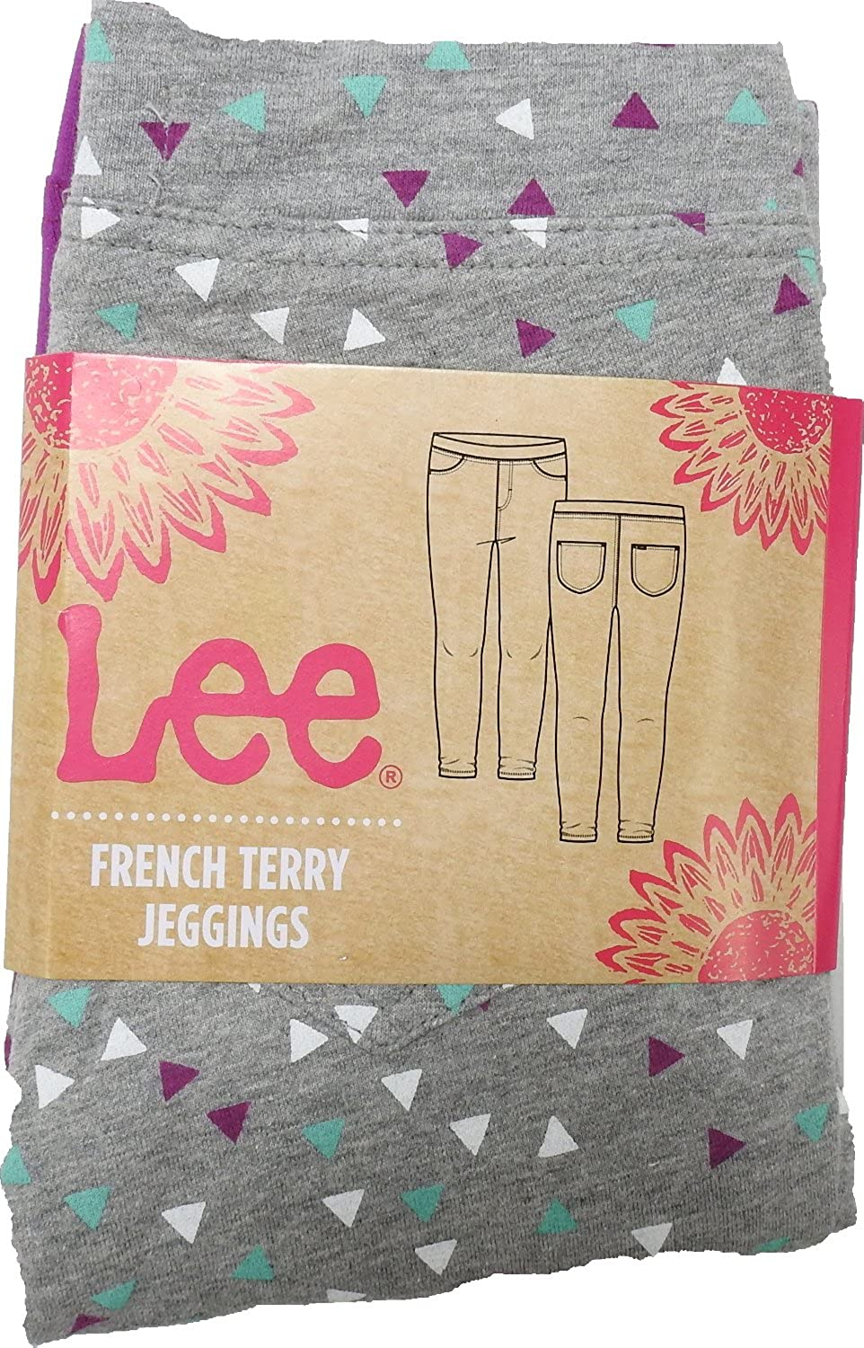 Lee Girls Size 5 French Terry 3-Pack Jeggings, Heather Grey/Violet/Light Blue