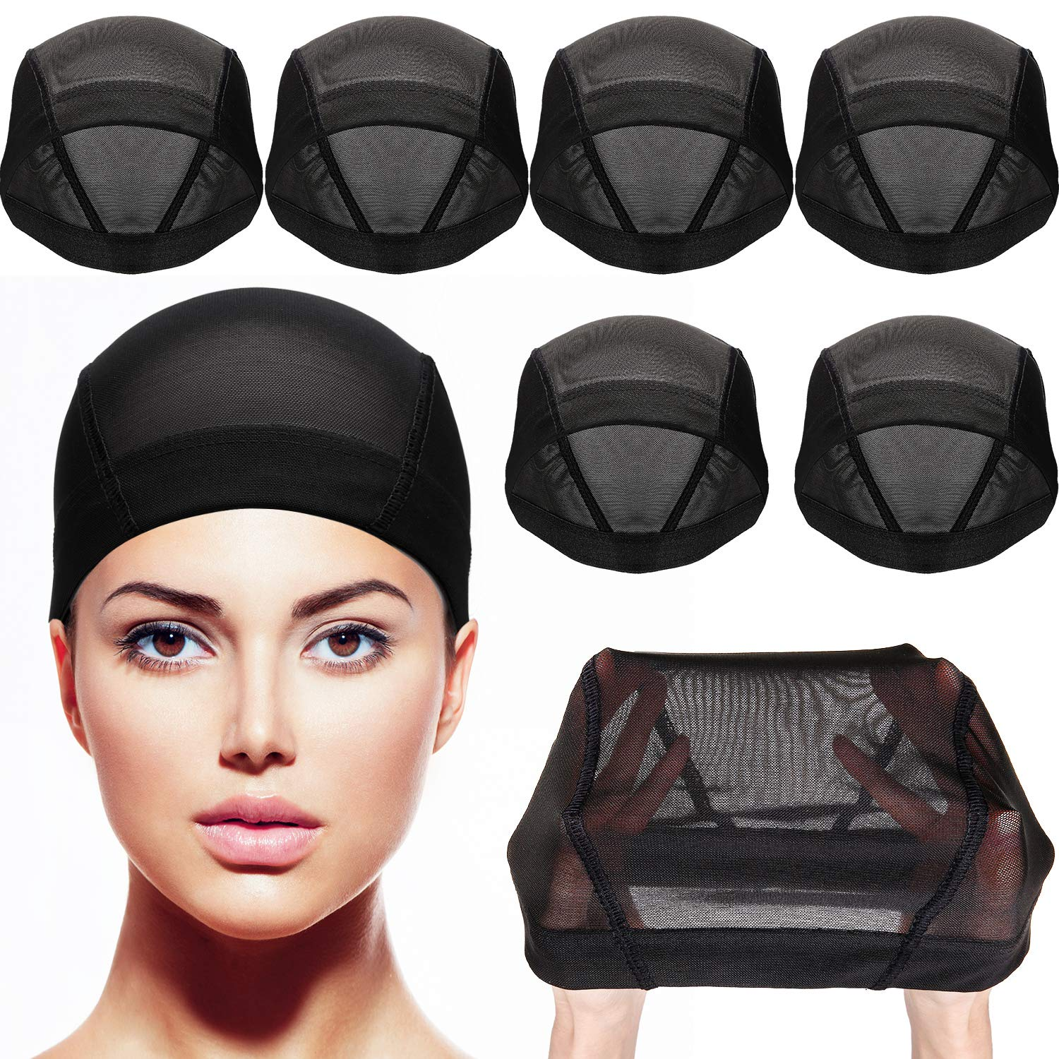 Tatuo 8 Pack Dome Caps Stretchable Wigs Cap Spandex Dome Style Wig Caps For Men Women (Black Mesh Wig Caps) by Tatuo