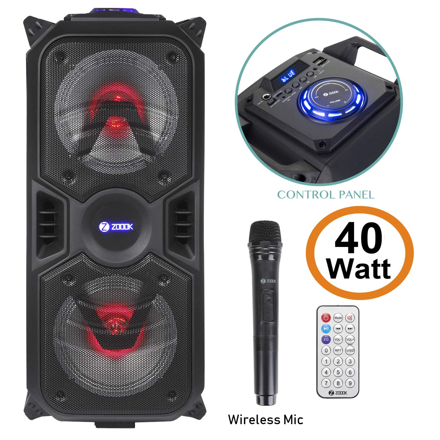 Zoook Rocker Thunder Plus 40 Watts Karaoke Bluetooth Party
