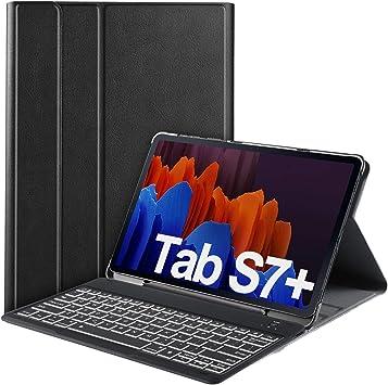 IVSO Backlit Teclado para Samsung Galaxy Tab S7+/Tab S7 Plus (QWERTY US), para Samsung Galaxy Tab S7+ 12.4 Teclado,7 Colores Retroiluminado Wireless ...