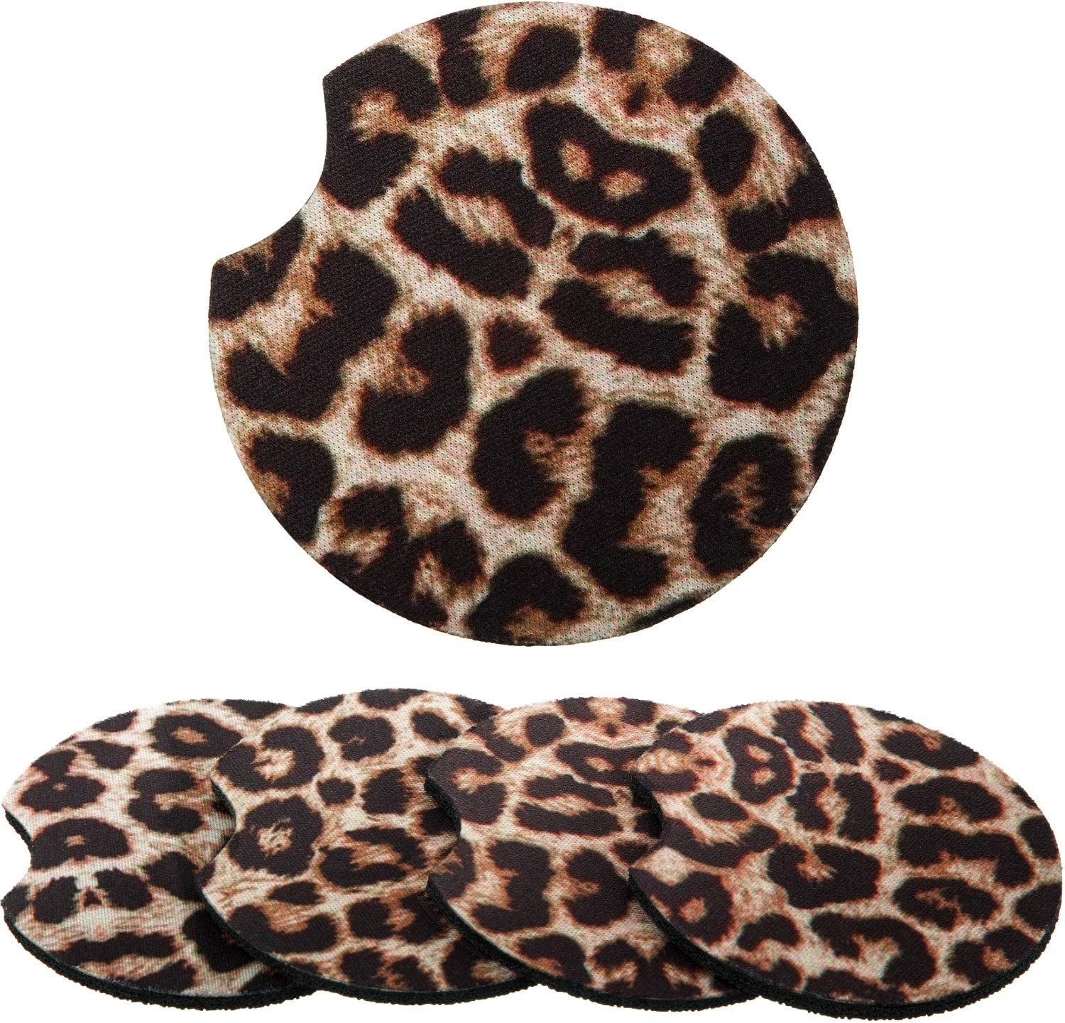 Boao 2.56 Inch Leopard Car Coasters for Drinks Neoprene Cup Coaster Rubber Car Cup Pad Mat Car Accessories for Car Living Room Kitchen Office to Protect Car and Furniture (4)