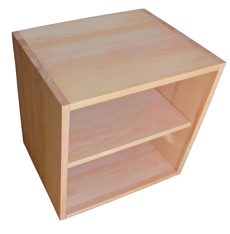 Cube De Rangement Avec Tag Re En Bois De H Tre Massif Huil  # Meuble De Rangement En Bois Massif