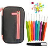 Crochet Hooks Set by Classy Catz. 9 color Soft Rubber Ergonomic Comfort Grip Handles for Pain-free Crocheting. 8 x 5 inch Canvas Case with 21 pcs Accessories.