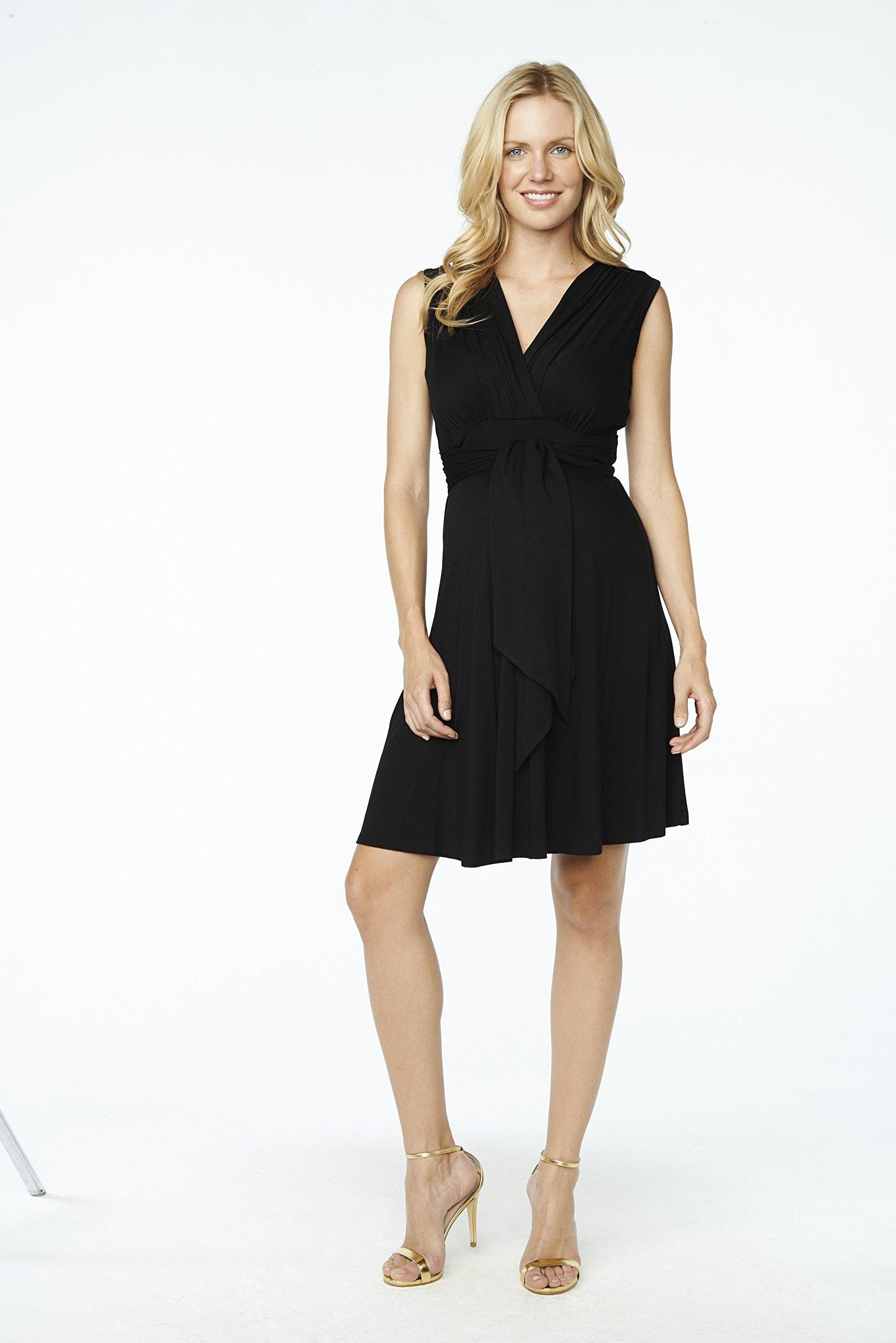 Maternal America Women's Maternity Mini Sleeveless Front Tie Dress, Black, Medium by Maternal America