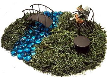 Fairy Garden Kit   Includes Fairy, Bench, Table, Bridge, Blue Glass Stones