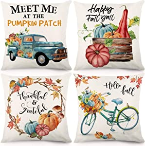 CDWERD Fall Throw Pillow Covers 18x18 Inches Pumpkin Thanksgiving Farmhouse Decorative Autumn Pillowcase Cotton Linen Cushion Case for Home Decor Set of 4