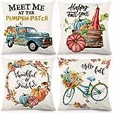 CDWERD Fall Throw Pillow Covers 18x18 Inches Pumpkin Thanksgiving Farmhouse Decorative Autumn Pillowcase Cotton Linen Cushion