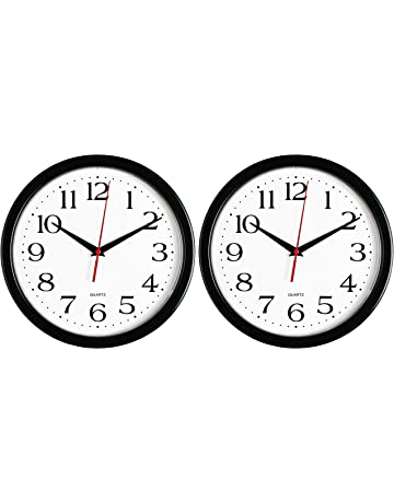 Bernhard Products Black Wall Clock, Silent Non Ticking - 10 Inch Quality Quartz Battery Operated