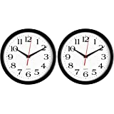 Bernhard Products - Black Wall Clocks, 2 Pack Silent Non Ticking 10 Inch Quality Quartz Battery Operated Round Easy to…