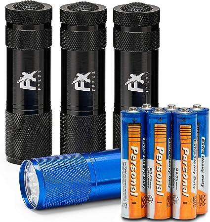 Piles Incluses Torche Lampe de Poche LED 1 3 Pack Mini Portable Lampe Lot Puissant et Compact Id/éal pour Camping Voiture Travail Chantier Ext/érieure Voyage Chien Metal Micro Petite Noir Bleu