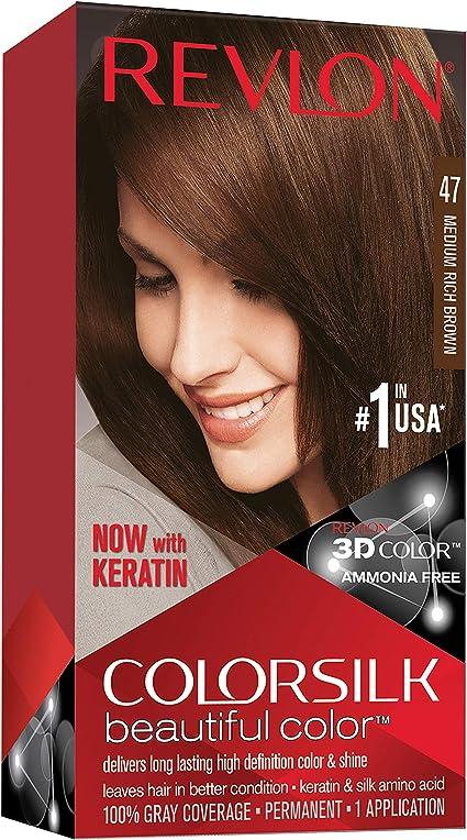 Revlon ColorSilk Beautiful Color 47 Marrón coloración del cabello - Coloración del cabello (Marrón, Medium Rich Brown)